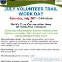 July Trail Day – Saturday, July 20, 2019 at Mark's Cove